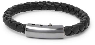 Bottega Veneta Intrecciato Leather and Oxidised Silver-Tone Bracelet - Black
