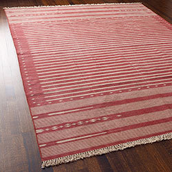 Graphic Flat Weave Rug - Red Large