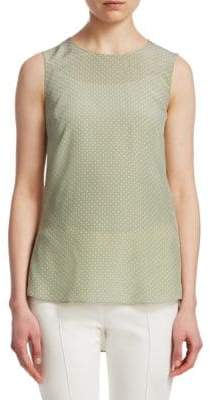 Akris Punto Silk Polka Dot Sleeveless Blouse