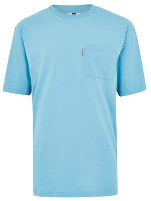 Topman Mens Aqua Blue Taping T-Shirt
