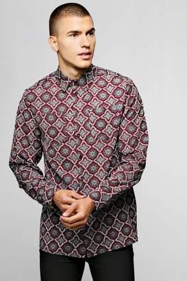boohoo Long Sleeve Tile Print Viscose Shirt
