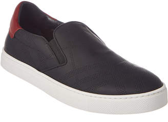 Burberry Copford Perforated Check Leather Slip On Trainer