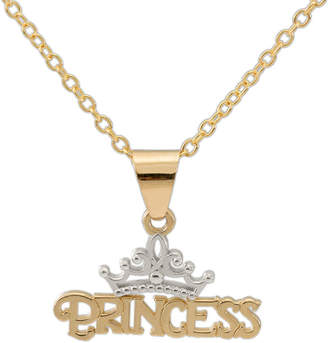 FINE JEWELRY Disney 14K Yellow Gold Princess Tiara Pendant Necklace