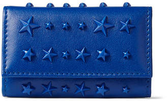 Jimmy Choo NEPTUNE Electric Blue Nappa Leather Key Case with Mixed Stars