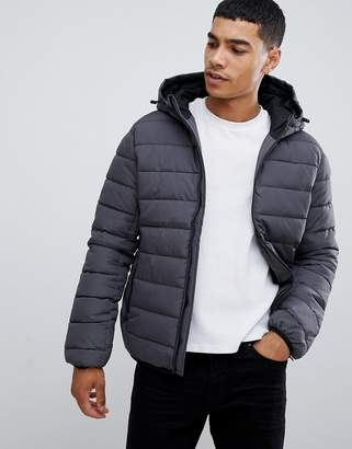 New Look hooded puffer jacket in gray
