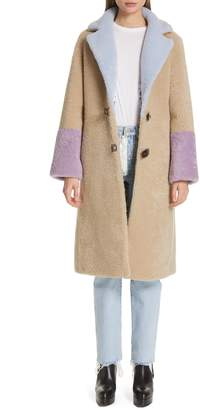 Saks Potts Febbe Buckle Closure Genuine Shearling Coat