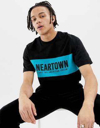 Pull&Bear t-shirt with slogan print in blue