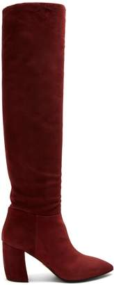 Prada Point-toe suede knee-high boots