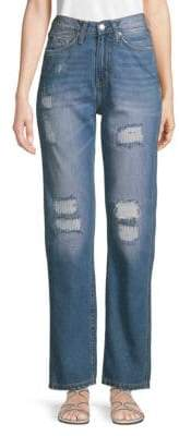 Calvin Klein Jeans Distressed High-Rise Wide-Leg Jeans
