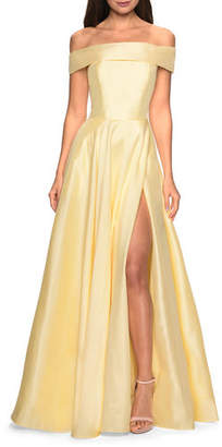La Femme Off-the-Shoulder Satin A-Line Gown with Slit