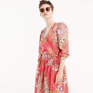 J.Crew Tall cotton wrap top in paisley
