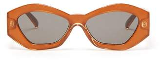 Le Specs The Ginchiest Geometric Acetate Sunglasses - Womens - Light Brown