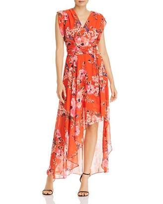 Eliza J High-Low Floral Surplice Dress