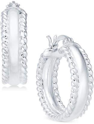 Giani Bernini Polished Rope Edge Hoop Earrings in Sterling Silver, Created for Macy's