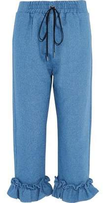 Mother of Pearl Finley Cropped Ruffle-Trimmed Cotton Tapered Pants
