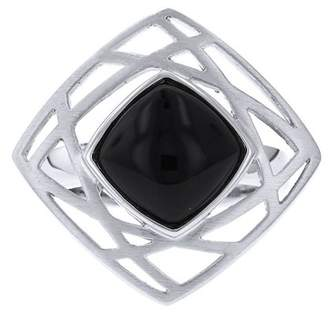 Breuning Sterling Silver Geometric Black Chalcedony Ring