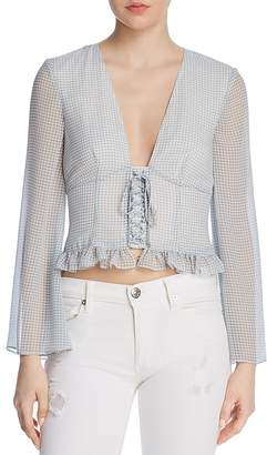 The East Order Willa Corseted Gingham Cropped Top