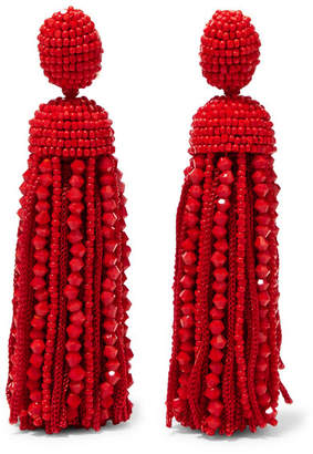 Oscar de la Renta Beaded Silk Clip Earrings - Red
