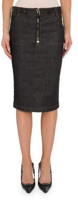 Tom Ford Zip-Front Denim Pencil Skirt