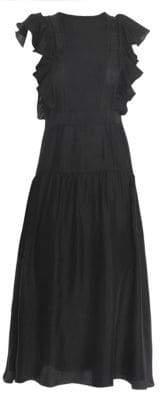 Sandro Women's Agnesse Smocked Acid Love Midi Dress - Black - Size 42 (10)