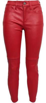 Current/Elliott Cropped Stretch-leather Skinny Pants