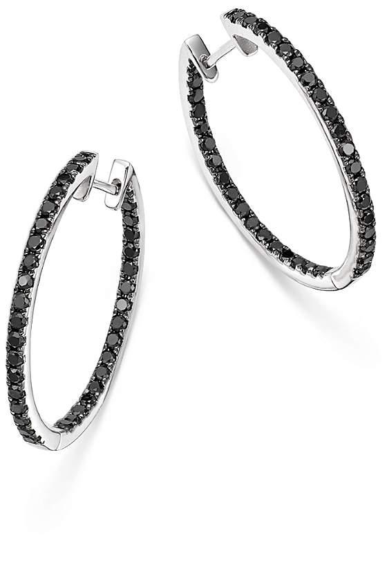 Black Diamond Inside Out Hoop Earrings in 14K White Gold, 1.35 ct. t.w. - 100% Exclusive