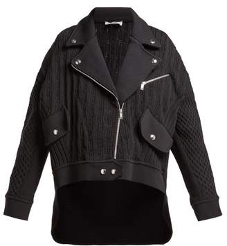Sonia Rykiel Cable Knit Biker Cardigan - Womens - Black