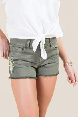 francesca's Harper Floral Embroidered Jean Short - Dark Olive