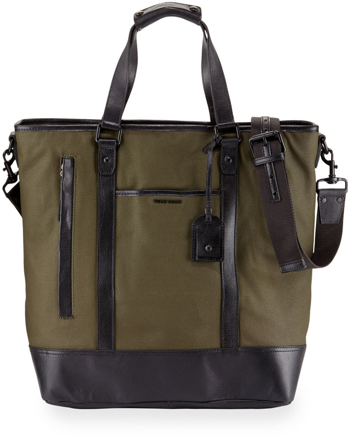 Cole Haan Cole Haan Leather-Trim Canvas Tote Bag, Olive