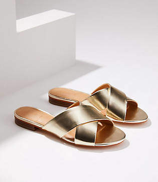 LOFT Metallic Criss Cross Slide Sandals