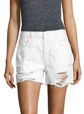 J Brand Ivy High-Rise Distressed Denim Shorts/Distract
