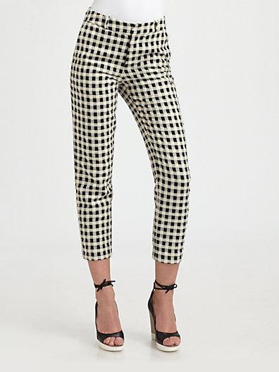 Steven Alan Danny Cropped Check-Print Pants