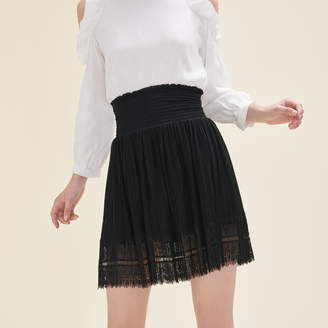 Maje Pleated skirt with dotted Swiss and lace