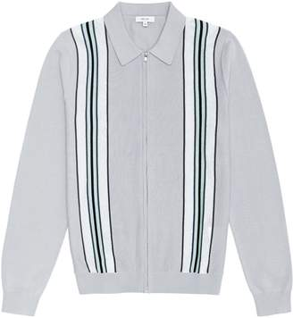 Reiss Donnie - Striped Zip Through Jumper in Ice Grey
