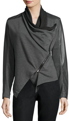 Philosophy Drape-Front Faux-Leather Trim Jacket, Gray $99 thestylecure.com