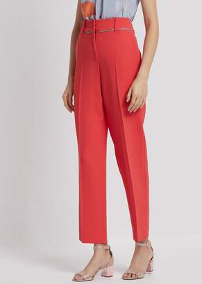 Emporio Armani Cady Pants With Crepe De Chine Piping