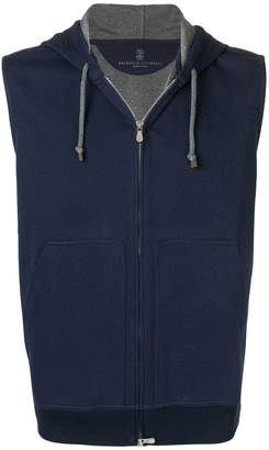 Brunello Cucinelli sleeveless zipped hoodie