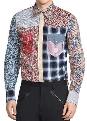 DSQUARED2 Printed Patchwork Regular Fit Western Shirt