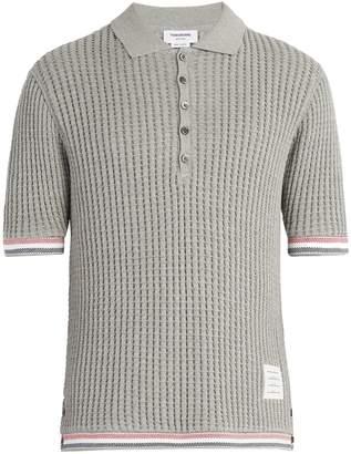 Thom Browne Striped-trim waffle-knit cotton polo shirt