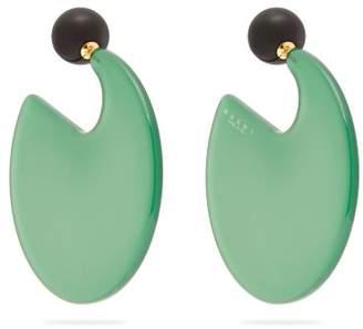 Marni Circle Hoop Round Post Back Earrings - Womens - Green