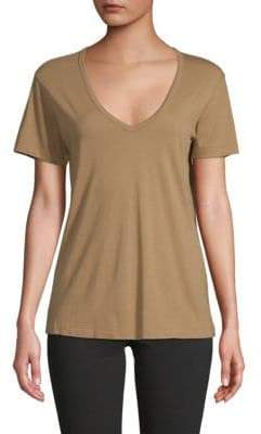 Vince Short-Sleeve V-Neck Cotton Tee