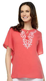 Denim & Co. 2-pc Gauze Embroidered ButterflySleeve Top
