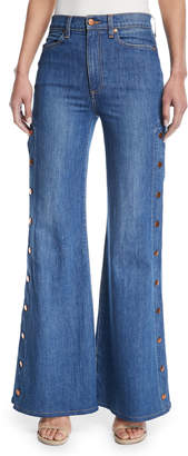 Neiman Marcus Ao.La By Alice+Olivia Gorgeous High-Rise Wide-Leg Jeans w/ Side Snaps