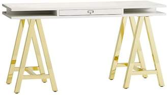 Pottery Barn Teen Customize It Open Core Desk, Metal A Frame, Simply White with Gold Base