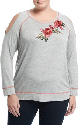 Bobeau Plus Cold-Shoulder Rose Patch Top, Plus Size