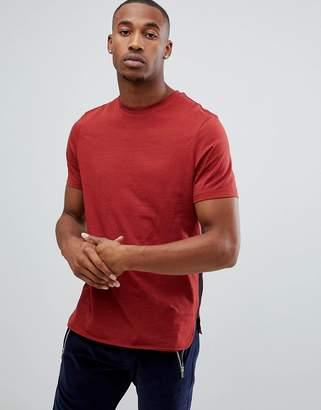 Asos DESIGN Longline T-Shirt With Curve Hem and Gusset Contrast In Red
