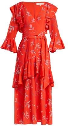 Dragon Optical Borgo De Nor - Aiana Print Crepe Dress - Womens - Red Print