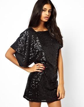 Asos Sequin Kimono Drape Mini Dress - Black