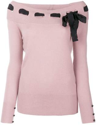 Blumarine bow detail sweater