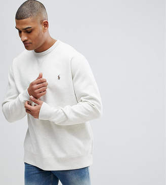 Polo Ralph Lauren Big & Tall Crew Neck Sweatshirt Polo Player Logo In Beige Marl